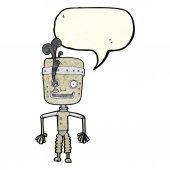 Cartoon malfunctioning robot with speech bubble — Stock Vector