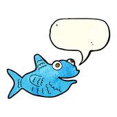 Cartoon happy fish with speech bubble — Stock Vector