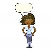 Cartoon-frau mit händen an den hüften mit sprechblase — Stockvektor
