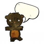 Cartoon black bear cub with speech bubble — Stock Vector