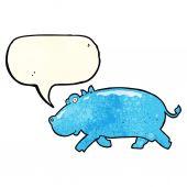 Cartoon hippopotamus with speech bubble — Stock Vector