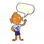 Dibujos animados a niño agitando de peces con burbujas de discurso — Vector de stock