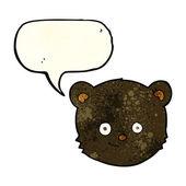 Cabeza de oso negro de dibujos animados con burbujas de discurso — Vector de stock