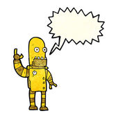 Cartoon waving gold robot with speech bubble — Stock Vector