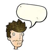 Homem nervoso dos desenhos animados com bolha do discurso — Vetor de Stock