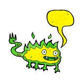 Cartoon-kleine Feuer-Dämon mit Sprechblase — Stockvektor