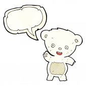 Cartoon waving polar bear with speech bubble — Stock Vector
