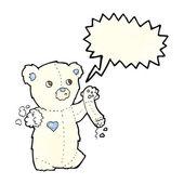 Orsacchiotto polare orso con braccio strappato con la bolla di discorso del fumetto — Vettoriale Stock