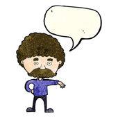 Homem dos desenhos animados com bigode fazendo gesto acampamento com bolha do discurso — Vetor de Stock