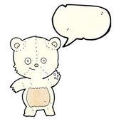 Cartoon waving polar bear with speech bubble — Stock Vector