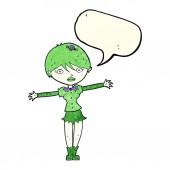 讲话泡泡卡通吸血鬼女孩 — 图库矢量图片