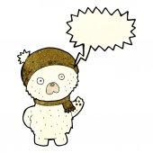 Karikatura roztomilý lední medvěd v zimní čepici a šálu s řeči bubli — Stock vektor