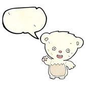 Cartoon polar bear cub waving with speech bubble — Stock Vector