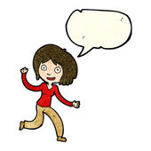 Cartoon happy waving girl with speech bubble — Stock Vector