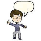 Cartoon happy man waving with speech bubble — Vector de stock