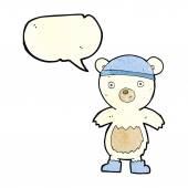 Karikatura roztomilý lední medvěd s balónem — Stock vektor