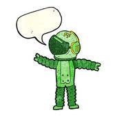 Cartoon astronaut reaching with speech bubble — Stock vektor