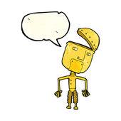 Robô de engraçado dos desenhos animados com bolha do discurso — Vetor de Stock