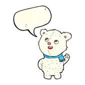 Cartoon cute polar bear cub with speech bubble — Stock Vector