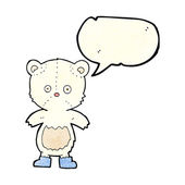 Kreslený lední medvídě s balónem — Stock vektor