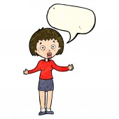 Cartoon woman making excuses with speech bubble — Stock vektor