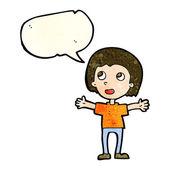 Счастливый человек мультфильм с речи пузырь — Cтоковый вектор