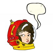 Cartoon female astronaut with speech bubble — Stock Vector