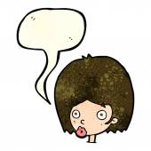 Cartoon surprised female face with speech bubble — Stock Vector