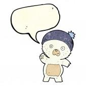 Cute cartoon polar bear with speech bubble — Stock Vector