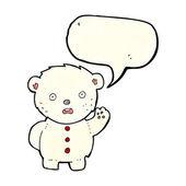 Cartoon unhappy polar teddy bear with speech bubble — Stock Vector