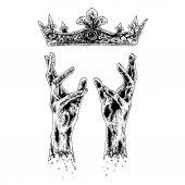 Mãos pegando coroa — Vetor de Stock
