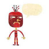 Funny cartoon robot with speech bubble — Stock Vector