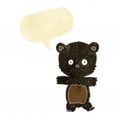 Cute cartoon black bear with speech bubble — Stock Vector