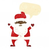Cartoon ugly santa claus with speech bubble — Stock Vector