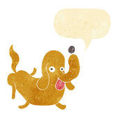 Cartoon dog sticking out tongue with speech bubble — Stock Vector