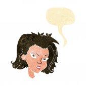 Женское лицо мультфильм с речи пузырь — Cтоковый вектор