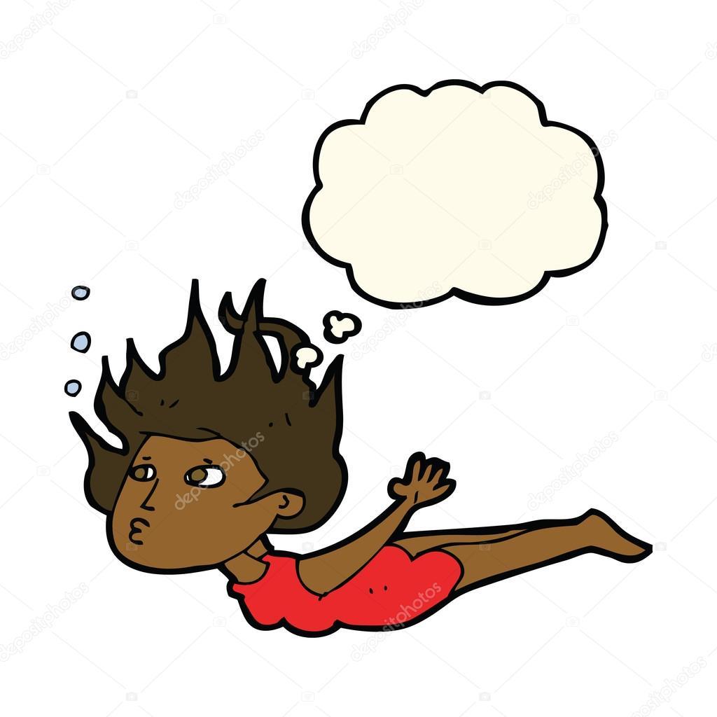 卡通女人与水下游泳思想泡泡 — 图库矢量图像08