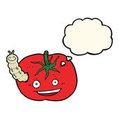 Cartoon tomato with bug with thought bubble — Stock Vector