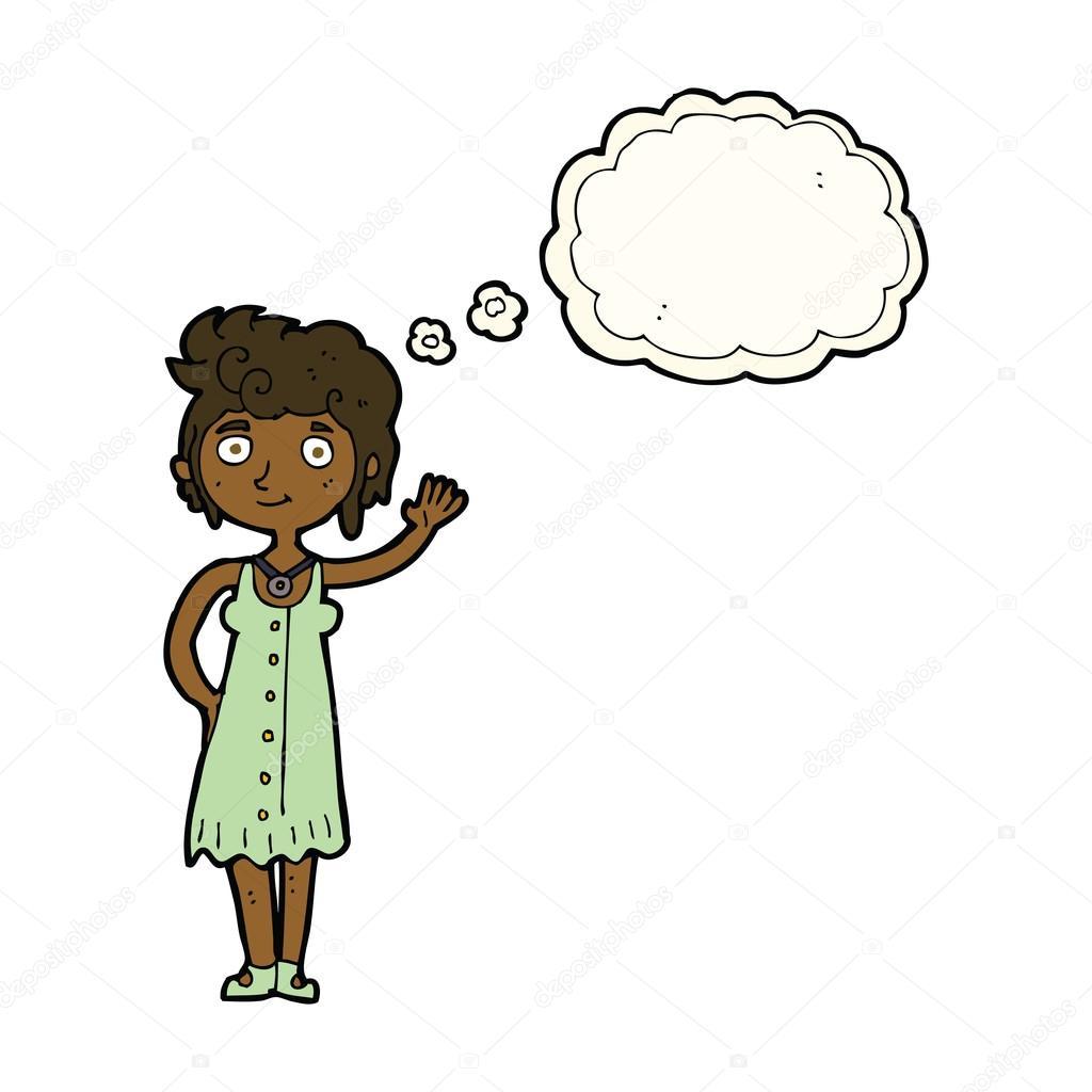 卡通嬉皮女人挥舞着思想泡泡 — 图库矢量图片#77180497