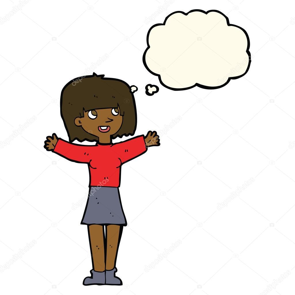 动漫与思想泡泡很激动的女人 — 图库矢量图片#77187643