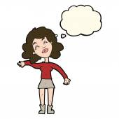 Cartoon woman only joking with thought bubble — Stock Vector