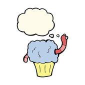 Cartoon worm in cupcake met gedachte zeepbel — Stockvector