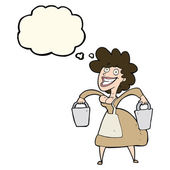 Cartoon milkmaid carrying buckets with thought bubble — Stock Vector