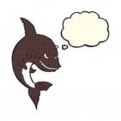 Funny cartoon shark with thought bubble — Stock Vector