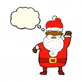 Cartoon angry santa claus with thought bubble — Stock Vector