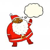 Funny waving santa claus cartoon with thought bubble — Stock Vector