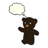 Cartoon black bear cub with thought bubble — Stock Vector