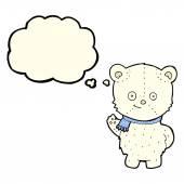 Cute cartoon polar bear with thought bubble — Stock Vector