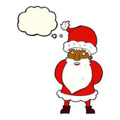 Cartoon santa claus with thought bubble — Stock Vector