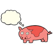 Cartoon pig with thought bubble — Stock Vector